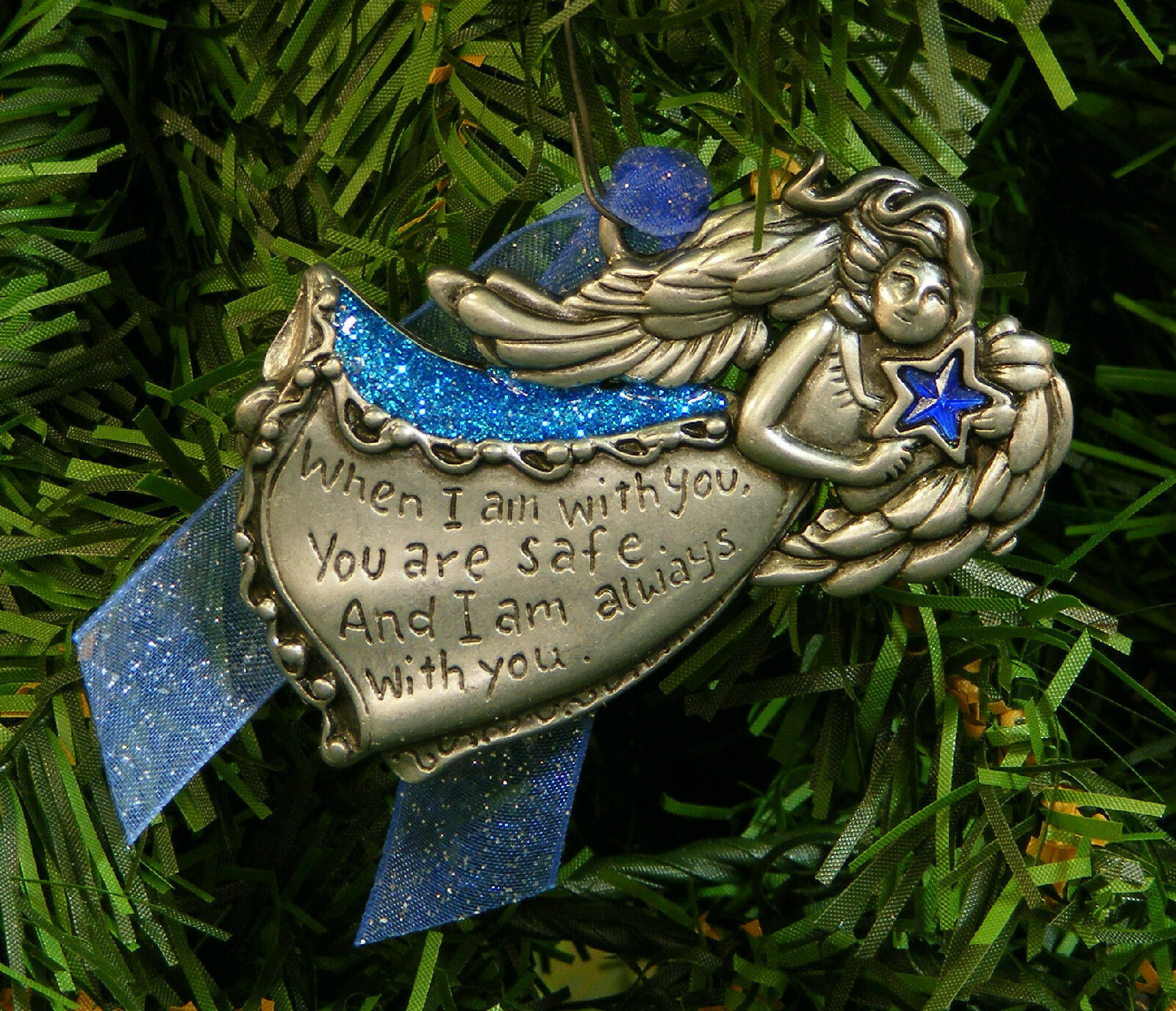 "Primary image for WORDS OF AN ANGEL ""WHEN I AM WITH YOU,YOU ARE SAFE..."" PEWTER CHRISTMAS ORNAMENT"