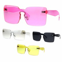 Womens Retro Vintage Rimless Shield Rectangular Sunglasses - $12.95