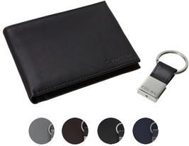 Calvin Klein Ck Men's Leather Bifold Id Wallet Key Chain Set Rfid 79220