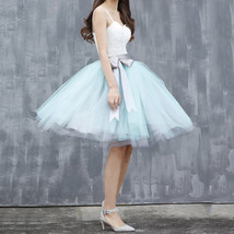 Navy White Midi Tulle Skirt 6-layered Party Tulle Skirt image 11