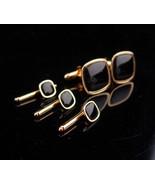 Vintage Black Tuxedo Cufflinks / swank gold set / Wedding Cufflinks / Bl... - $145.00