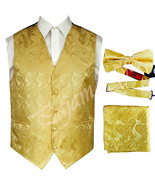 GOLD  XS to 6XL Paisley Tuxedo Suit Dress Vest Waistcoat & Bow tie Hanky