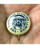 1930s The National Economy League Pin Button Bulldog Treasury Building RARE - $38.22