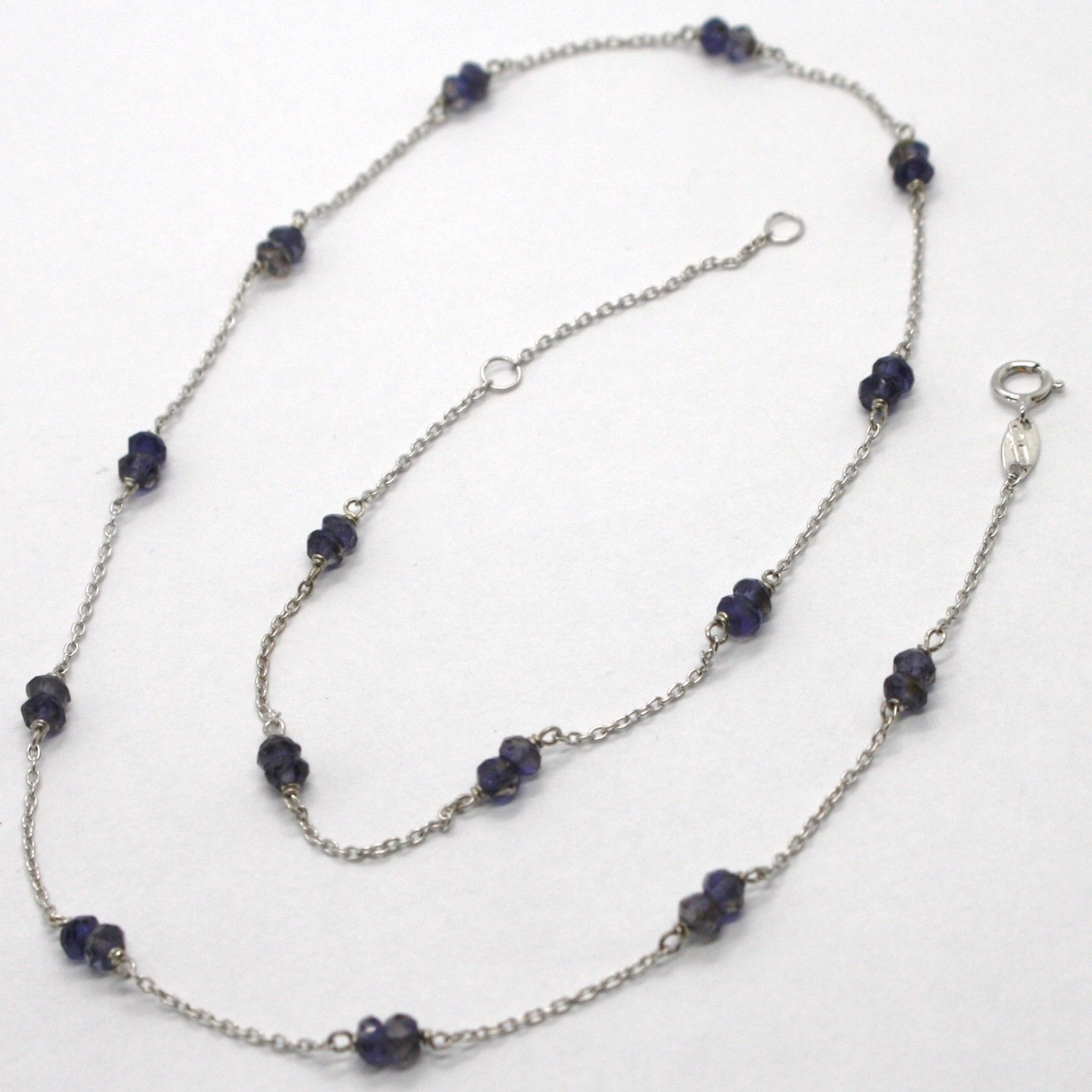 18K WHITE GOLD NECKLACE ROLO ROUND CHAIN ALTERNATE WITH FACETED BLUE IOLITE