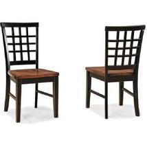 Dining Chair Set 2 Piece Side Wooden Kitchen Seat Black Brown Seats Livi... - €241,12 EUR
