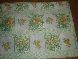 Vintage Cannon Monticello Floral Lattice Twin Flat Sheet  - $18.69