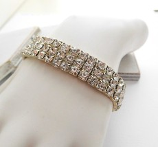 Retro Shimmering Clear Rhinestone Triple Row Stretch Bangle Bracelet N30 - $4.94