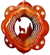 12 in stainless steel copper Wolf USA 3D hanging garden wind spinner, spinners - $32.00