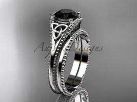 Black Diamond Celtic knot wedding rings sets 14k white engagement ring CT7375S - $1,335.00