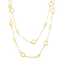 14k Yellow Gold Disc and Open Circle Stationed 2-Strand Chain Necklace - $1,096.73