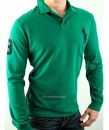 Polo Ralph Lauren Men's Custom Fit Long Sleeve Big Pony Mesh Polo Green ... - $39.99
