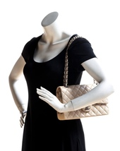SALE* AUTHENTIC Chanel Quilted Lambskin Classic Medium Beige Double Flap Bag SHW image 13