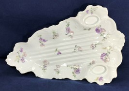 """Serving Dish Triangle Shaped 16"""" White Purple Flowers Gold Scalloped Edg... - $163.35"""