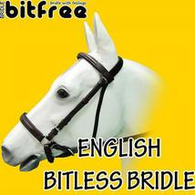 Bitfree Leather English Bitless Bridle Horse Reins Brown Hilason U-B231 - $69.95