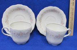 Johann Haviland China Cup & Saucer Floral Splendor Pattern w/ Silver Trim 2 Sets - $20.78