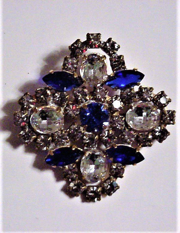 Primary image for Gorgeous Blue and Clear Rhinestones Brooch Pin Vintage