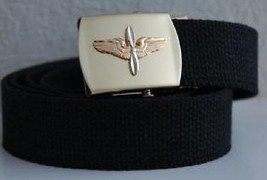 USAF Unites States Air Force Aviation Cadet Black Belt & Buckle - $15.83
