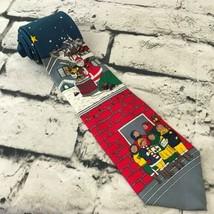 Vintage Wembley Mens Necktie Silk Tie Christmas Santa Clause Bricks Caro... - $16.82