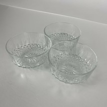 "3 Arcoroc France Diamant 4"" Inch Bowls Clear Glass Individual Salad Bowls - $12.19"