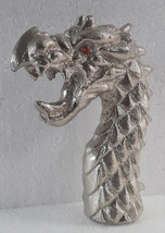 Halloween Antique Walking Stick Cane Metal Handle Dragon Head Royal Look - $21.77