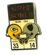 VTG Starline Super Bowl II 1968 in Miami Packer 33 Raiders 14 Lapel Hat ... - $9.88