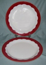 "Corning Dinnerware-12 1/2"" Serving Platters -White Milk Glass/ Red Scall... - $19.95"