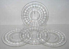 """4 Hocking Banded Ring 8.25"""" Luncheon Plates Clear Crystal Depression Glass - $12.20"""