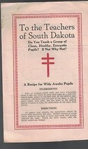 To the Teachers of South Dakota brochure Tuberculosis 1920s - $11.96
