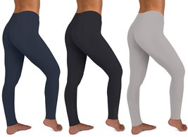 Womens 3 Pack Active Yoga Workout Cotton Stretch Fashion Long Leggings - $49.95