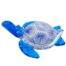 Beachcomber Blue/White Turtle Glass Art