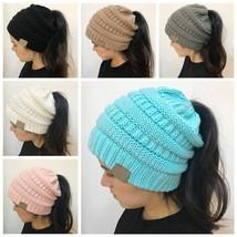CC Ponytail Beanie Winter Hats For Women Crochet Knit Cap Skullies Beani... - $7.89