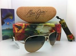 Polarizadas Maui Jim Titanio Gafas de Sol Mavericks Hs 264-16 Oro W/ Bronce