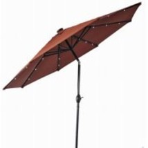 9' Round Umbrella with Solar Lights Tilts Three Different Angles, Orange... - $111.21
