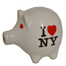 Manhattan P.C. I Love NY New York Piggy Bank Coin Saving White Ceramic R... - $11.34