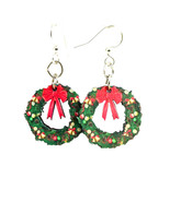 Green Tree Jewelry Christmas Wreath Earrings Wood Wooden Laser Cut #1550 - $9.99