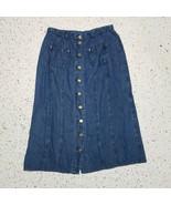 Jevns Votre Nom Vintage Denim Jean Skirt ~ Sz 46 ~ Sz 14 US ~ Gold Buttons - $34.64