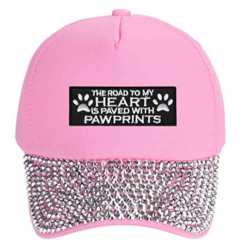 The Road To My Heart Is Paved With Pawprints Hat - Adjustable Women's Cap (Pink