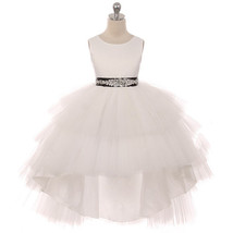 Ivory Satin Bodice Hi-Low Layers Tulle Skirt Rhinestones Black Sash Girl... - $89.95+