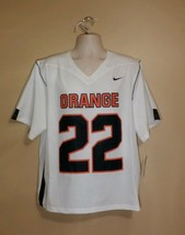 Nike Syracuse Team Issued Lacrosse Jersey Mens L White/Orange #22 Official - $50.40