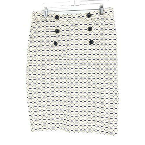 Baum Und Pferdgarten Pencil Skirt Women's Sz M White Blue Gold Metallic Buttons