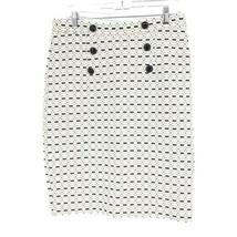 Baum Und Pferdgarten Pencil Skirt Women's Sz M White Blue Gold Metallic Buttons image 1