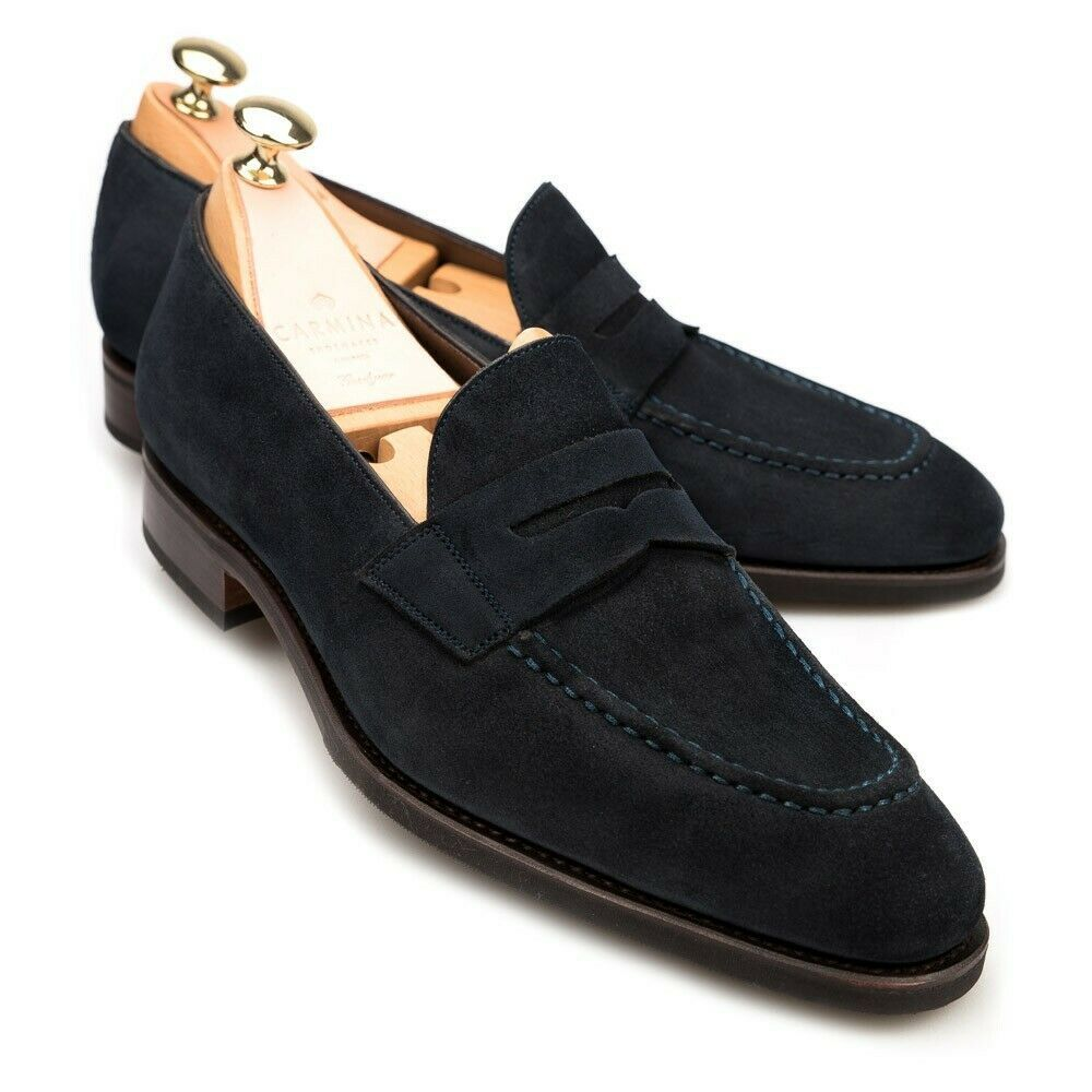Suede Black Tone Leather Tassel Apron Toe Superior Leather Loafers Men Shoes