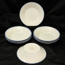 "Sango Renaissance Blue Soup Bowls 7.5"" Lot of 8 - $48.99"