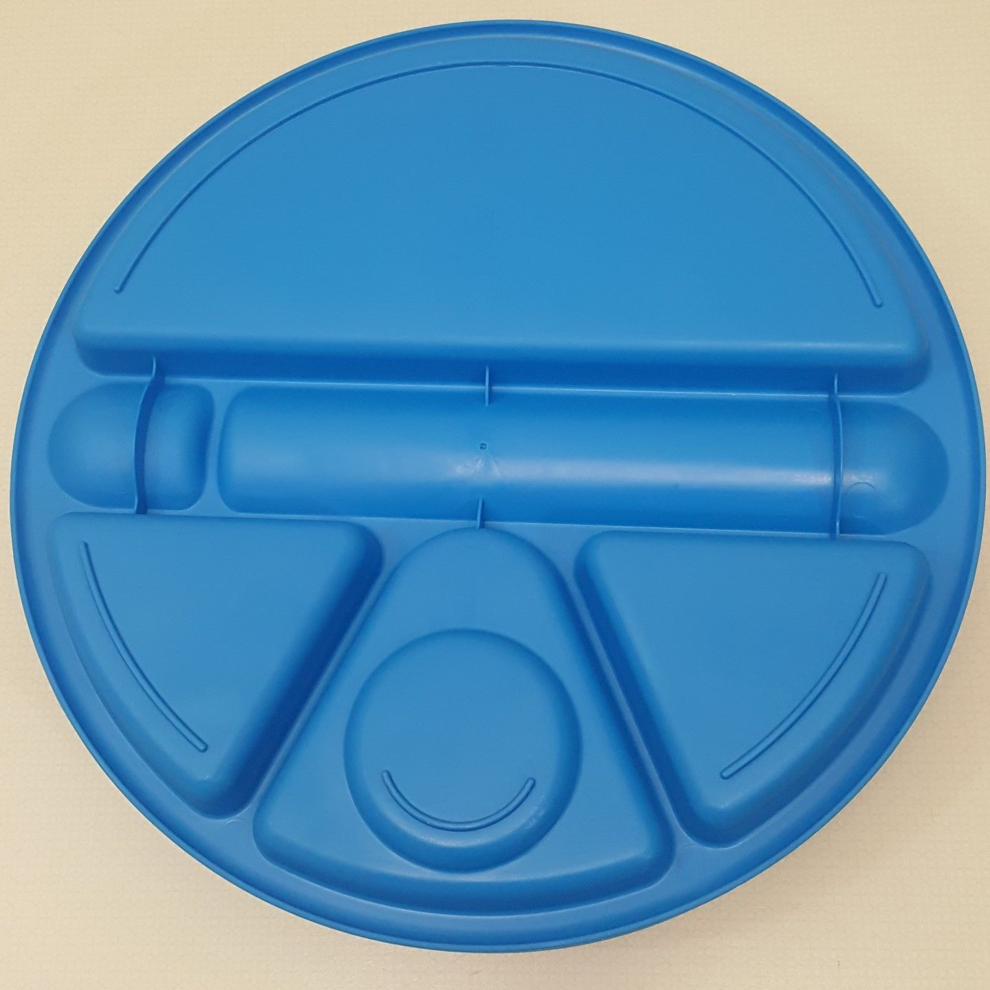 Arrow 4 Plastic Divider Plates Blue Round Lunch Serving Tray Picnic Camping USA