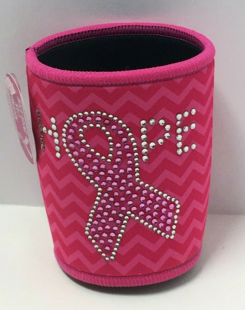 "Novelty Breast Cancer Awareness Pink Neoprene Can Insulator ""Hope"" Printed"