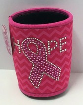 "Novelty Breast Cancer Awareness Pink Neoprene Can Insulator ""Hope"" Printed - $7.92"