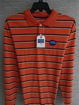 Saddlebred XL Polo Shirt L/S Soft Sueded Cotton Orange Multi Stripes Msr... - $10.88