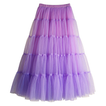 Women A Line Layered Tulle Skirt Outfit Plus Size Full Tiered Ruffle Tulle Skirt image 8
