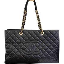 AUTHENTIC CHANEL BLACK QUILTED CAVIAR XL GST GRAND SHOPPING TOTE BAG GHW  - $2,799.99