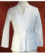 NEWPORT NEWS white cotton eyelet 3 button blazer jacket 2 (T09-04D8G) - $19.78
